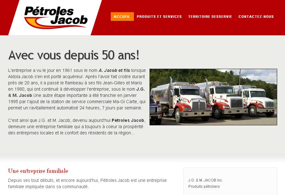 Site web de Pétroles Jacob